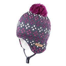 Mädchen grau-lila Wintermütze warm