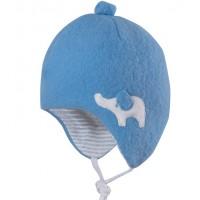 Bio Baby Wintermütze außen Merinowolle - blau