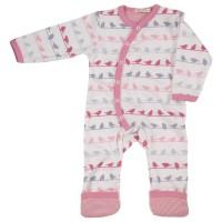 Babystrampler Mädchen - rosa mit Fußumschlag