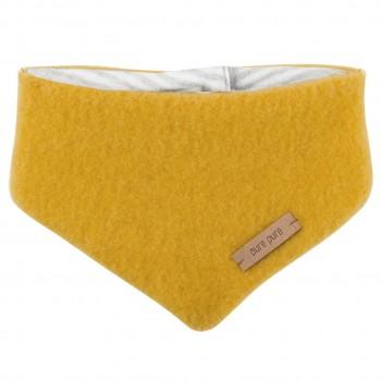 Dickes Wolle Halstuch mit Druckknopf gelb