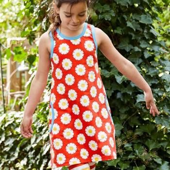 Sommerliches Kleid ohne Arm Gänseblümchen in rot