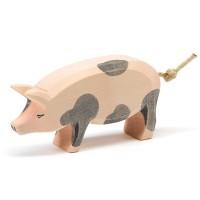 Schwein gefleckt Holzfigur - Kopf hoch 6 cm
