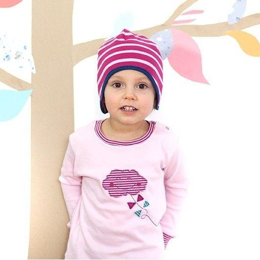 Rosa Rippshirt mit Druckknöpfen und Bündchen Wolke