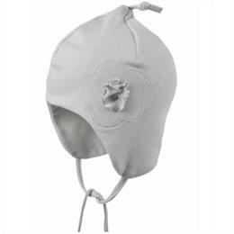 Leichte Zipfelmütze für Babys hinten ohne Naht - perlgrau