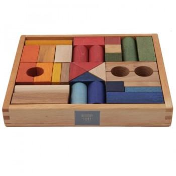 30 Regenbogen Bauklötze mit edler Holzbox ab 2 Jahre