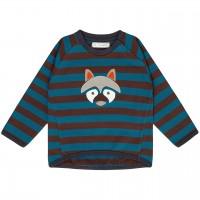 Baby Sweater mit Waschbär-Aufnäher in blau