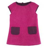 Mädchenkleid warmer dicker Woll-Fleece pink