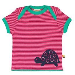 Loud and Proud Bio Shirt Ringel mit Schildkröte pink