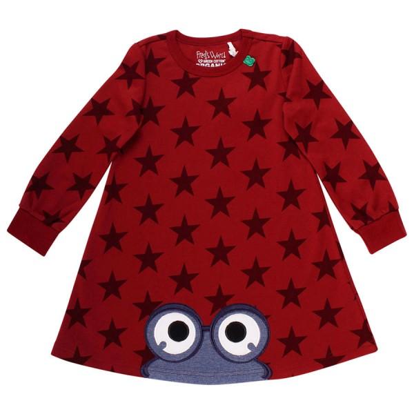 Griffiges Kleid bordeaux Sterne