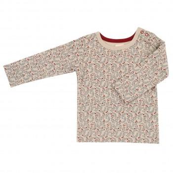 Edles Blumen Langarmshirt in creme