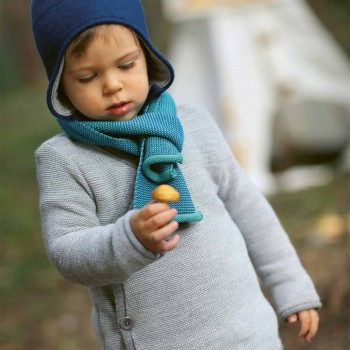 Kinder Schal Schurwolle 2 - 12 Jahre türkis