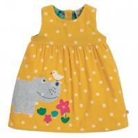 Gelbes Nilpferd Kleid Cord Ohne Arm