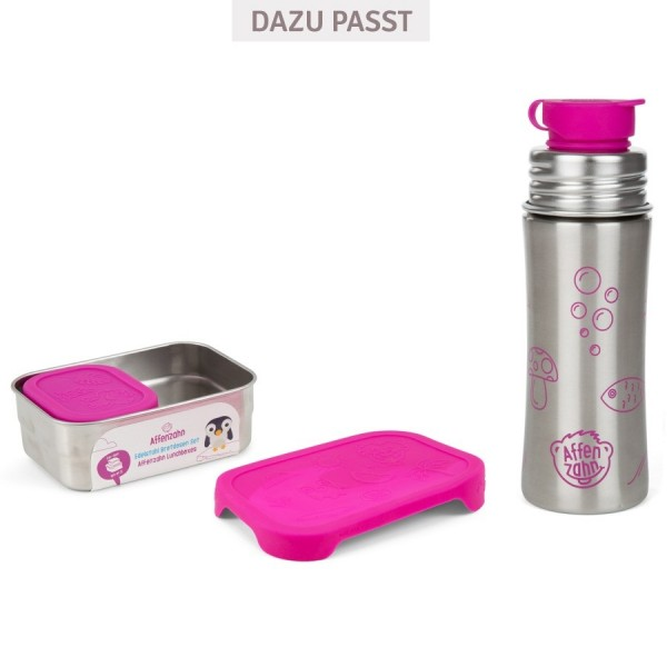 2 Edelstahl Brotbox mit Silikon Deckel pink