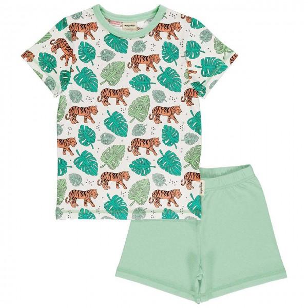 Kurzer Sommer Schlafanzug Jungle Tiger hellgrün