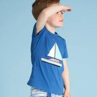 Shirt kurzarm Boot-Druck blau