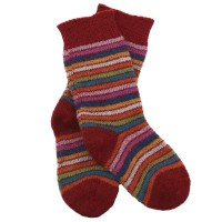 Vorschau: Lange Vollplüsch Socken Wolle warm dick rot