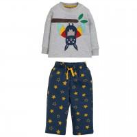 Fledermaus Pyjama navy grau