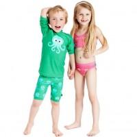 Vorschau: Langarm Badeshirt für Kinder - grün