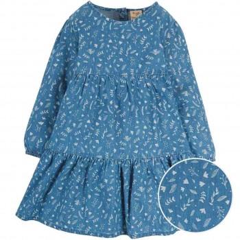 Kleid langarm in jeans-blau Blumen
