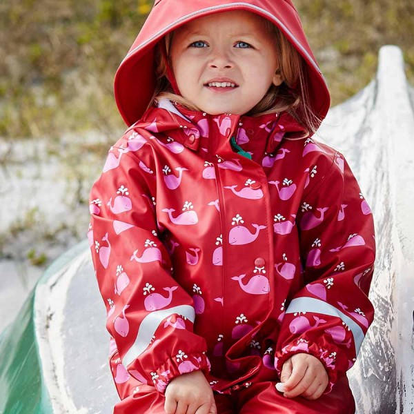 Mädchen Regenbekleidung rot mit rosa Walen