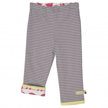 Weiche Wendehose Ringel mint Faultiere pink
