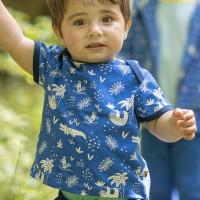 Leichtes Kurzarm Shirt Dschungel blau