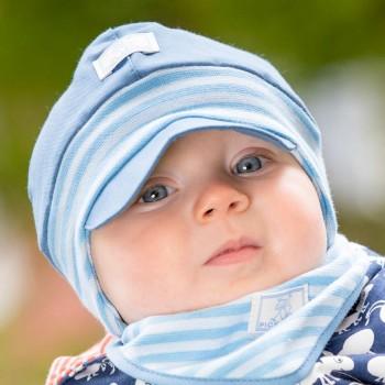 Babymütze mit softem Ohrenschutz Nils UV 60 bleu
