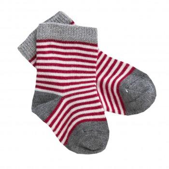 Babysocken Ringel rot grau