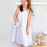 Langes Web-Slub Mädchen Kleid mit Streifen