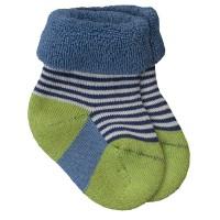 Dicke Bio Babysocken aus warmen Frottee - blau grün