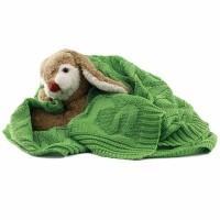 Vorschau: Leichte Öko Babydecke - sehr elastisch zum Pucken - grün