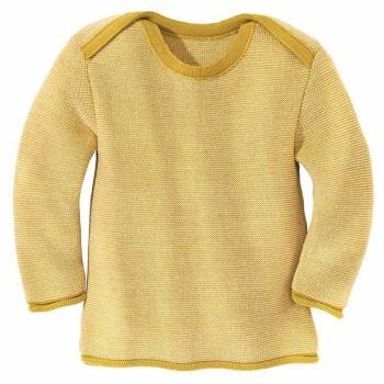 Baby Pullover Melange Schlupfkragen senf