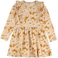 Kleid Mädchen langarm Blumen in senfgelb