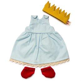 Puppenkleid Prinzessin + Zubehör blau