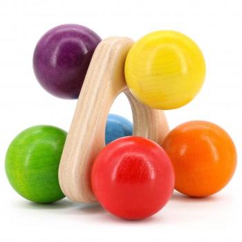 Rollgreifling Holz bunt 8 cm