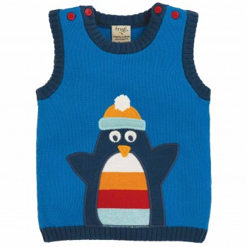 Strickpullunder Pinguin in blau