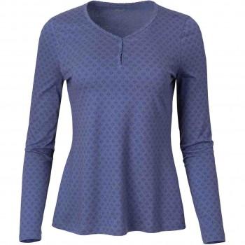 Damen Langarmshirt Struktur blau