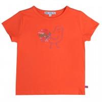 Shirt kurzarm orange Vogel gestickt