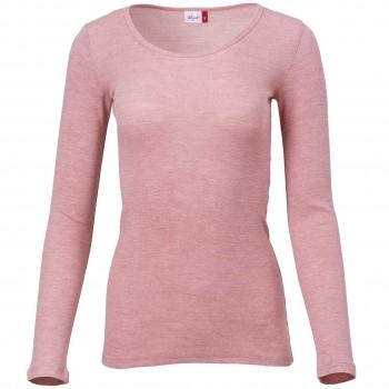 Damen Wolle Seide Langarmshirt rosa melange