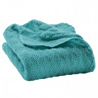 Leichte Babydecke Wolle Bio 80x100 cm blau