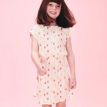Sommer Kleid mit Eis-Druck in creme