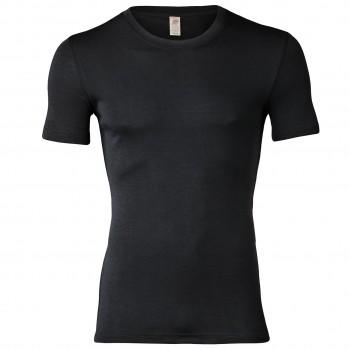 Wolle Seide Herren kurzarm Shirt schwarz