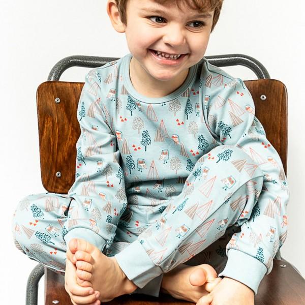 Schlafanzug mit Arm- und Fussbündchen - Eulen