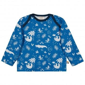 Leichtes Shirt langarm Dschungel blau