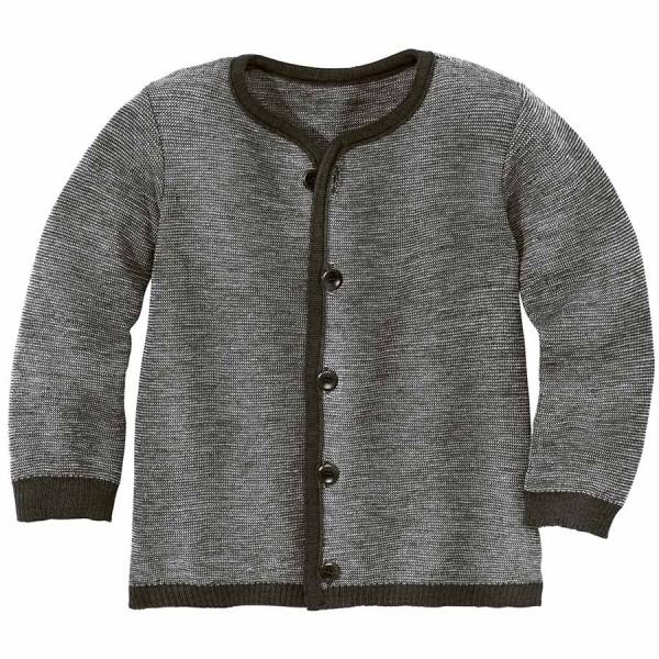 Leichte warme Strickjacke Wolle atmungsaktive anthrazit