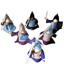 6 Ritter Holzpuppen zum Biegen blau
