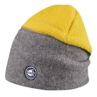 Kinder Beanie für den Winter gelb grau