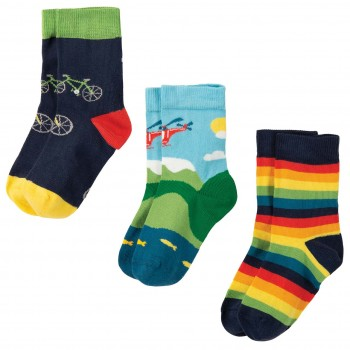 Kinder Jungen Bio Socken 3er Pack in blau