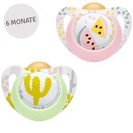 Flacher Latex Schnuller 6-18 Monate Melone