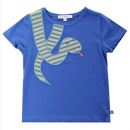 Schlange Bio T-Shirt royal blau mit Aufnäher